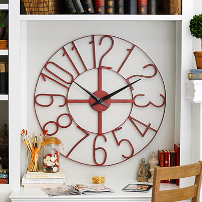 Distressed Red Open-Face Clock, 39.5 in.