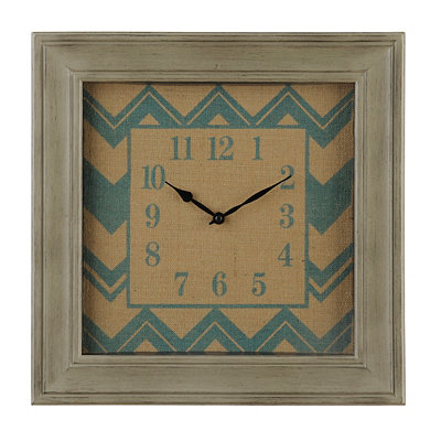 Blue Chevron Burlap Clock