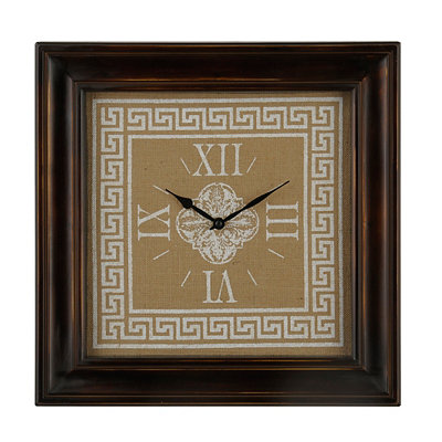 White Greek Key Burlap Clock