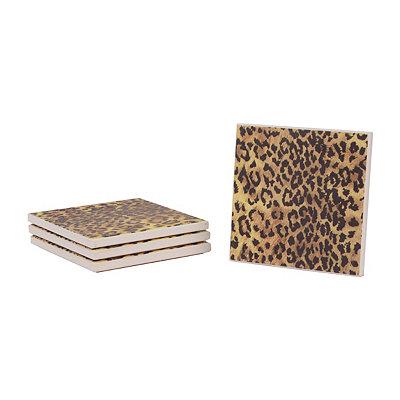 Stone Leopard Coasters, Set of 4