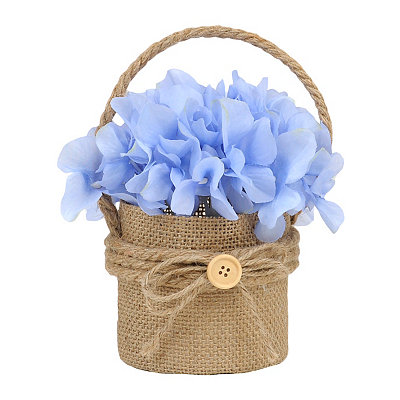 Blue Hydrangea Hanging Burlap Pot Arrangement