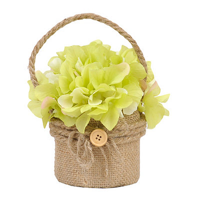 Green Hydrangea Hanging Burlap Pot Arrangement