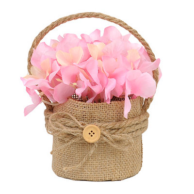 Pink Hydrangea Hanging Burlap Pot Arrangement