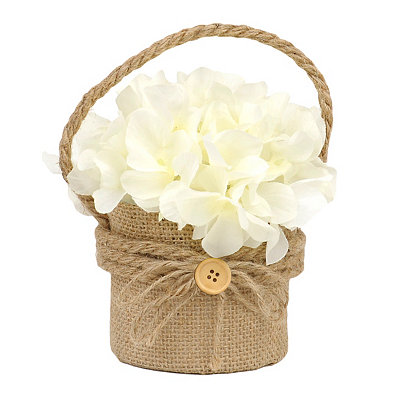 White Hydrangea Hanging Burlap Pot Arrangement
