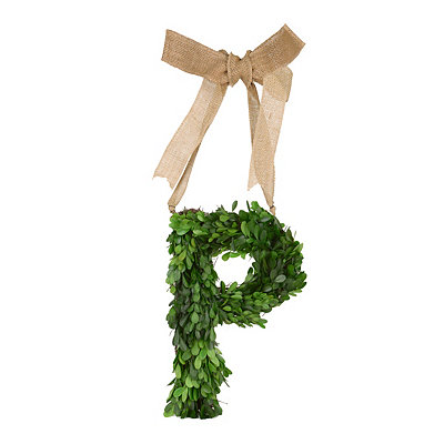 Monogram P Boxwood Wreath