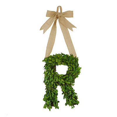 Monogram R Boxwood Wreath