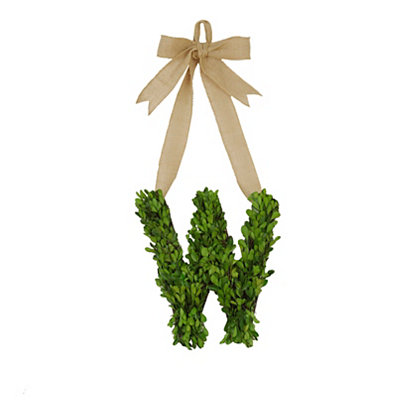Monogram W Boxwood Wreath