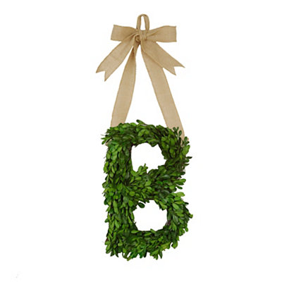 Monogram B Boxwood Wreath