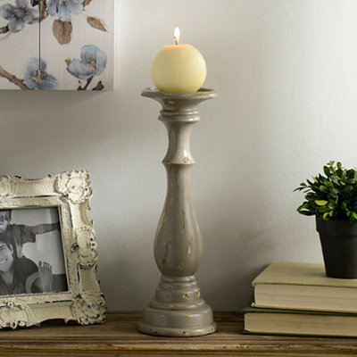 Distressed Gray Candlestick, 12 in.