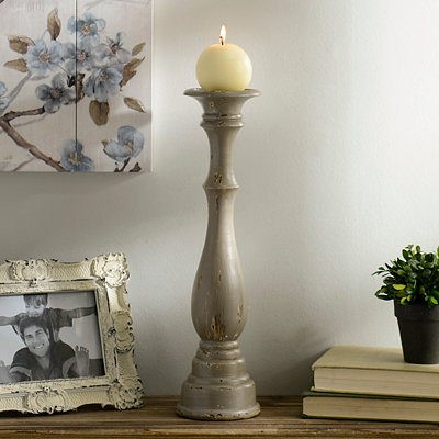 Distressed Gray Candlestick, 16 in.