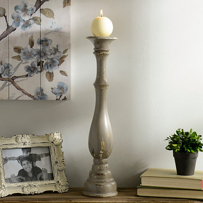 Distressed Gray Candlestick, 20 in.