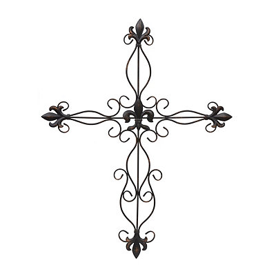 Antique Bronze Fleur-de-Lis Metal Cross