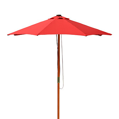 Red Solar-Powered LED Patio Umbrella