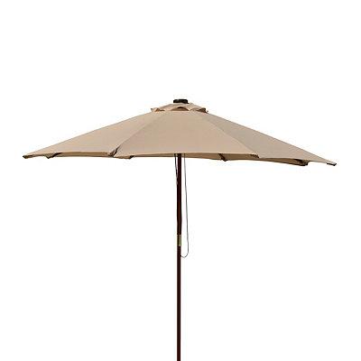 Tan Solar-Powered LED Patio Umbrella
