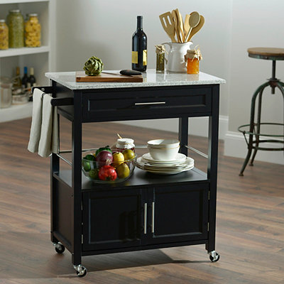 Cameron Black Kitchen Cart