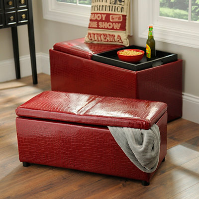 Red Faux Crocodile Storage Ottomans, Set of 2