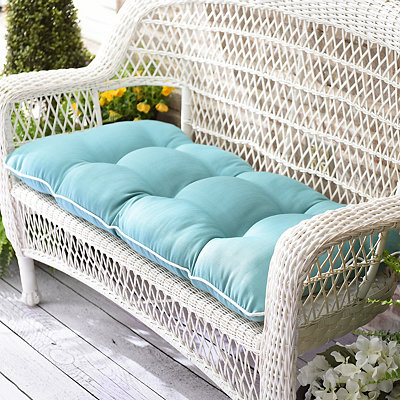 Solid Aqua Outdoor Settee Cushion