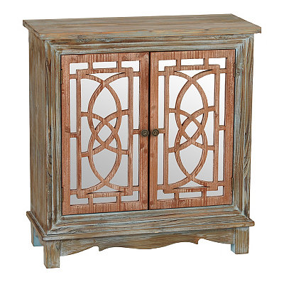 Weathered Two-Tone Mirrored Cabinet