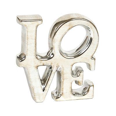 Silver Ceramic Love Statue