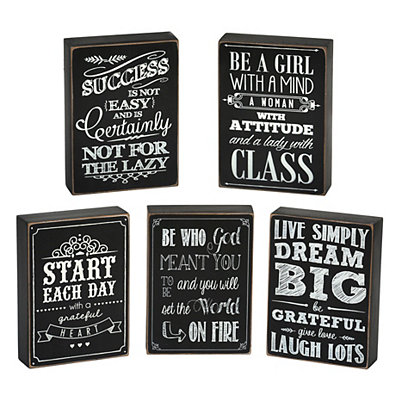 Inspirational Chalkboard Art Word Blocks