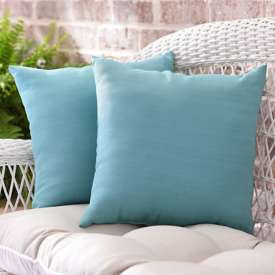 Solid Aqua Outdoor Accent Pillows, Set of 2