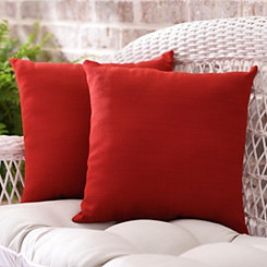 Solid Red Outdoor Accent Pillows, Set of 2
