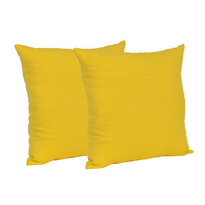 Solid Yellow Outdoor Accent Pillows, Set of 2
