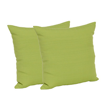Solid Green Outdoor Accent Pillows, Set of 2