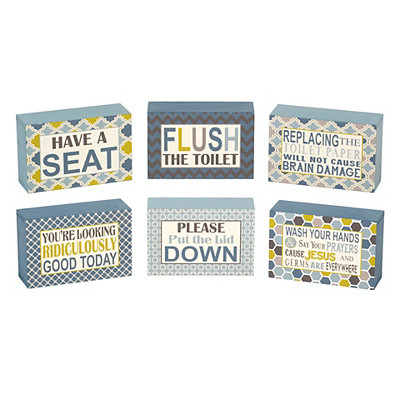 Humorous Bathroom Word Blocks