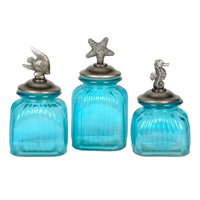 Blue Glass Coastal Canisters Set Of 3