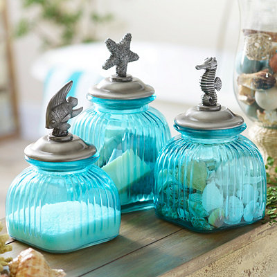 Blue Glass Coastal Canisters, Set of 3