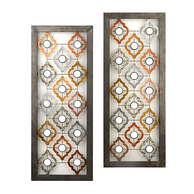 Mirrored Quatrefoil Metal Plaques, Set of 2