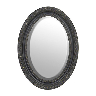 Ornate Black Framed Oval Mirror, 25x34