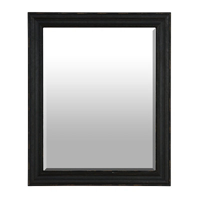Distressed Black Framed Mirror, 28.5x34.5