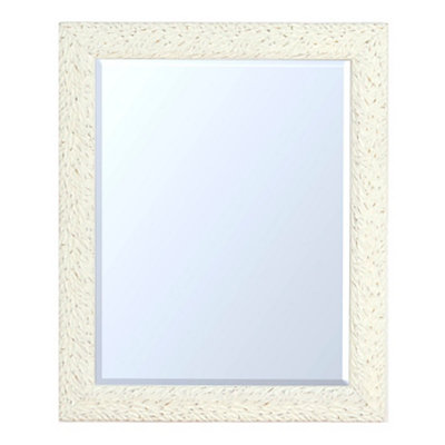 Distressed White Leaves Framed Mirror, 28.5x34.5