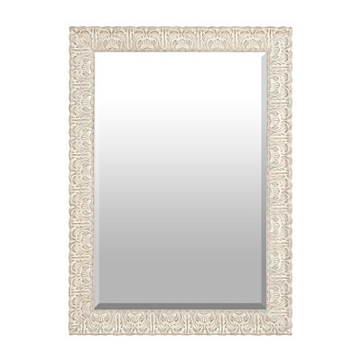 Ornate Ivory Framed Mirror, 31x43 in.