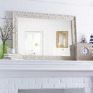 Ornate Ivory Framed Mirror, 30.5x42.5 in.