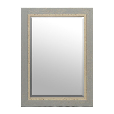 Distressed Robin's Egg Blue Framed Mirror, 31x43