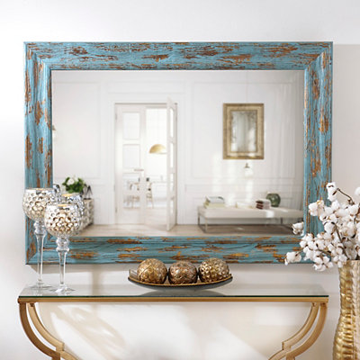 Distressed Turquoise & Gold Mirror, 31x43