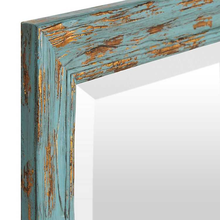 Distressed Turquoise Gold Mirror 31x43 In Kirklands