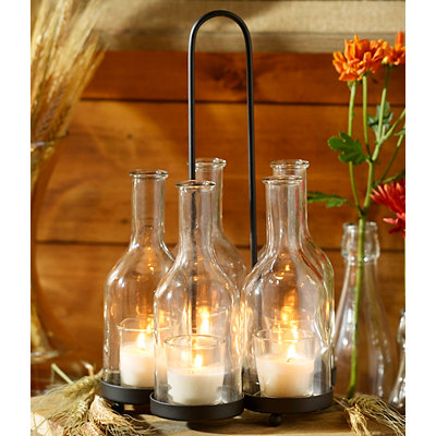 Light in a Bottle 5-Candle Centerpiece