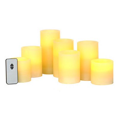 Ivory LED Candles with Remote, Set of 7