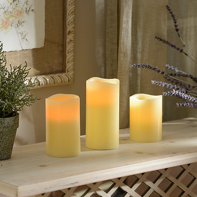 Ivory LED Candles with Remote, Set of 3