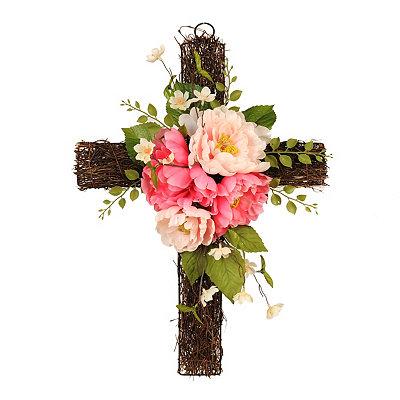 Pink Peony Cross Wreath