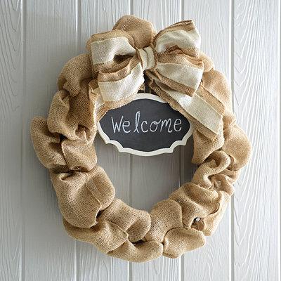 Burlap Chalkboard Wreath