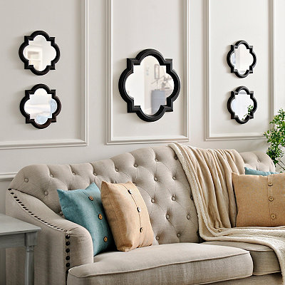 Bronze Quatrefoil Mirrors, Set of 5