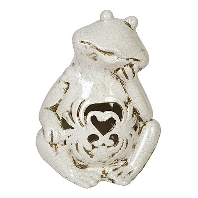 White Crackle Frog Statue