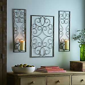 Bronze Scroll Wall Plaque and Sconces, Set of 3