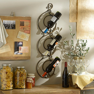 Bronze Scroll Metal Wall Wine Holder