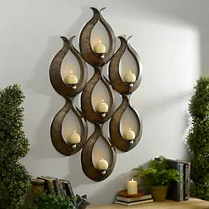 Bronze Teardrop 7-Pillar Candle Holder